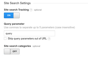 Google Analytics Site Settings