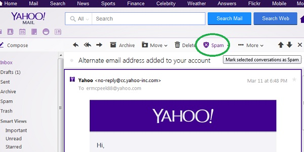 Yahoo Mail Mark Email as Spam